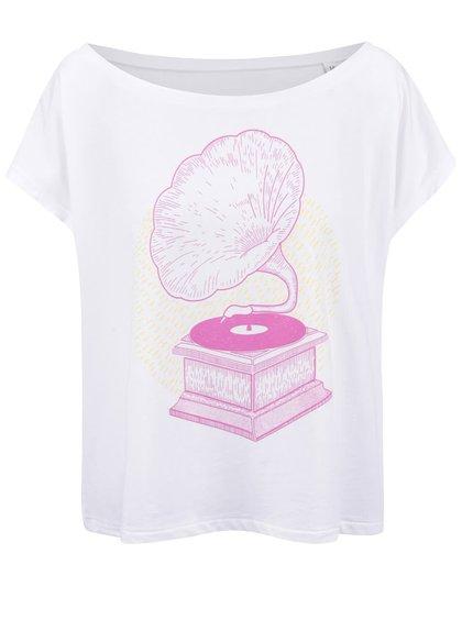 Biele dámske voľnejšie tričko ZOOT Originál Gramofón