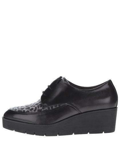 Pantofi negri cu platformă Tamaris cu animal print