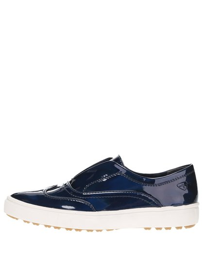 Modré lesklé loafers na bílé platformě Tamaris