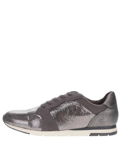 Třpytivé tenisky ve stříbrné barvě s šedými detaily Tamaris