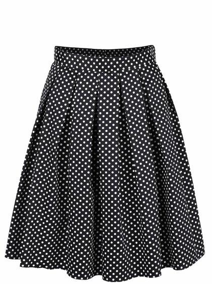 Čierna skladaná sukňa s bielymi bodkami Dorothy Perkins