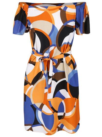 Krémovo-oranžové vzorované šaty s odhalenými ramenami Dorothy Perkins