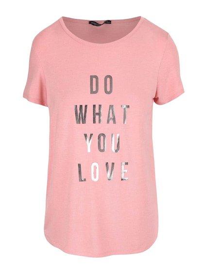 Růžové tričko s nápisem Dorothy Perkins