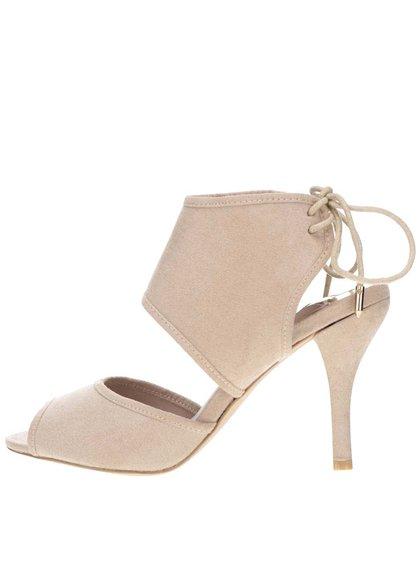Béžové sandálky na podpatku v semišové úpravě Dorothy Perkins