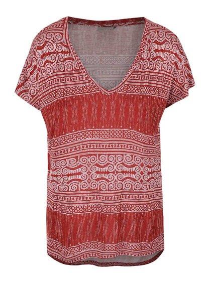 Tricou alb-roșu cu imprimeu Vero Moda Nala