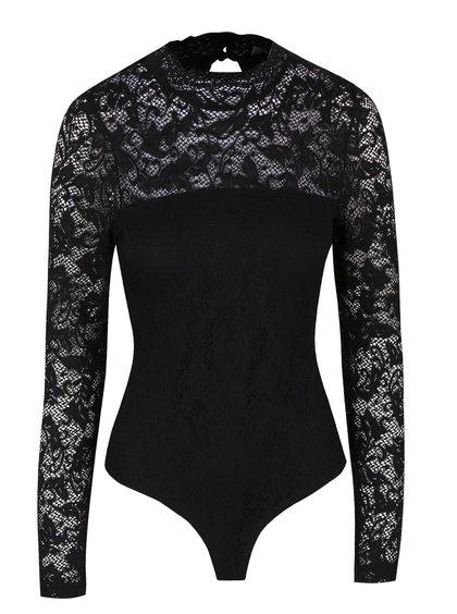 Body negru din dantelă Vero Moda Laky