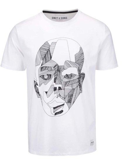 Bílé triko s potiskem ONLY & SONS Kody