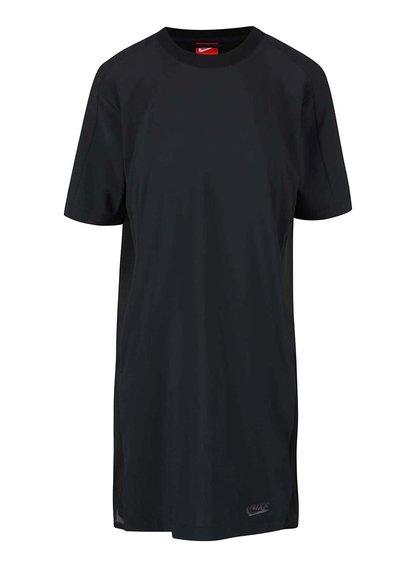 Černé volnější šaty s krátkým rukávem Nike Sportswear