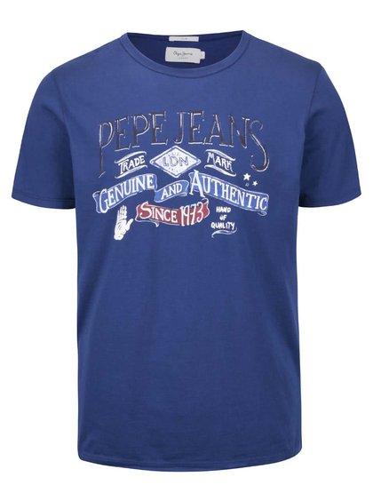 Modré pánske tričko s potlačou Pepe Jeans Richond
