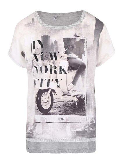 Světle šedé oversized tričko s potiskem ONLY Vickela