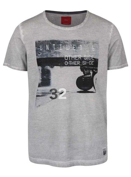 Sivé pánske vintage tričko s potlačou s.Oliver