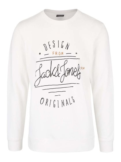 Bluză crem din bumbac  Jack & Jones Type cu logo print