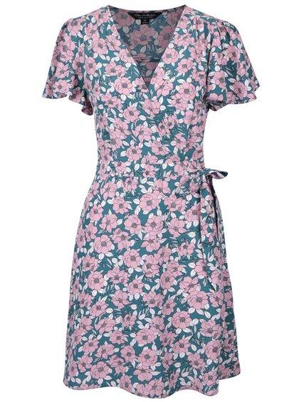 Ružovo-zelené šaty s kvetovanou potlačou Miss Selfridge