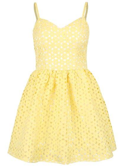 Žlté šaty na ramienka s vypaľovanou čipkou Chi Chi London