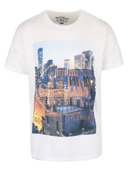 Bílé triko s potiskem Jack & Jones Cities