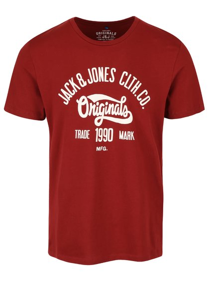 Tricou roșu închis din bumbac Jack & Jones Rraffa cu logo imprimeu