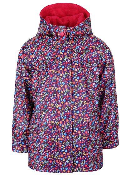 Fialová dievčenská nepremokavá bunda s kvetinovým vzorom Bóboli