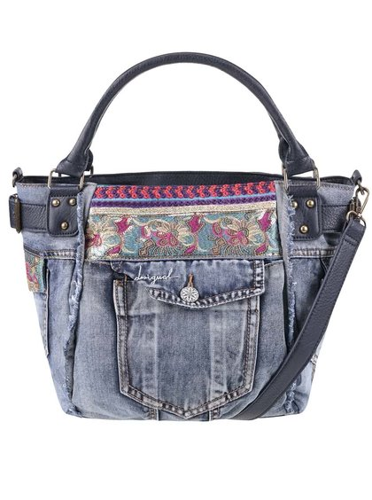 Modrá rifľová kabelka s vreckom Desigual McBee Ethnic