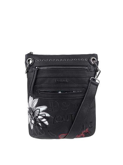 Černá crossbody kabelka s bílým květem Desigual Bandolera