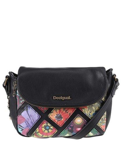Černá crossbody kabelka s barevnými květy Desigual Breda Indiana