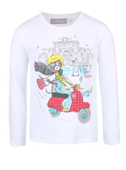 Bluză albă cu imprimeu Boboli pentru fete