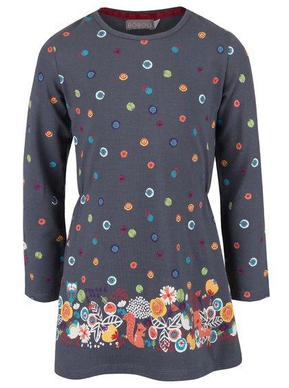 Sivé dievčenské šaty s farebnými bodkami Bóboli