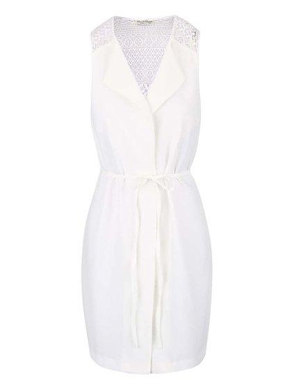 Krémová dlouhá vesta s páskem Miss Selfridge