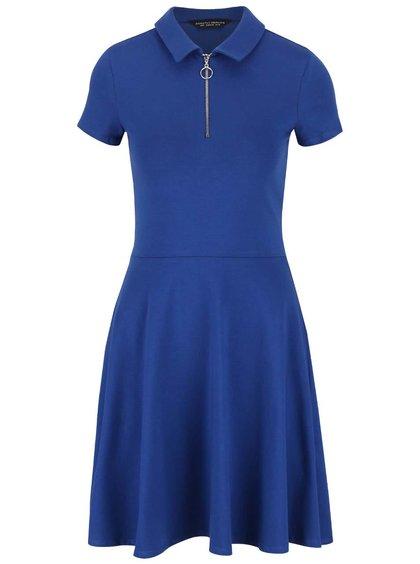 Modré šaty s golierom a zipsom vo výstrihu Dorothy Perkins
