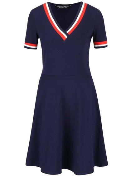 Tmavě modré šaty s červeno-bílým lemem Dorothy Perkins