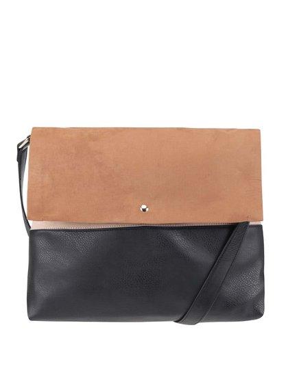 Čierno-hnedá kabelka s chlopňou v semišovej úprave Dorothy Perkins