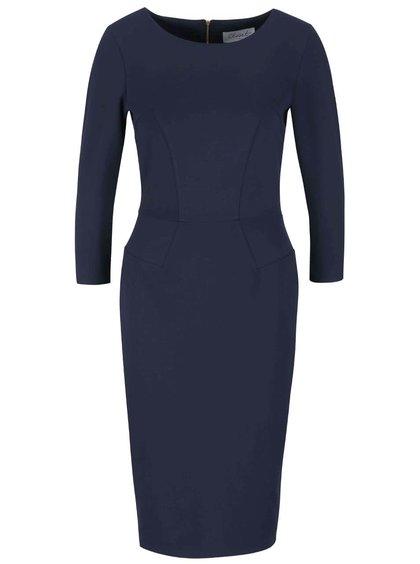 Tmavě modré pouzdrové šaty s 3/4 rukávy Closet