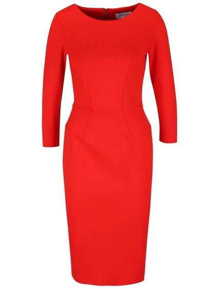 Červené pouzdrové šaty s 3/4 rukávy Closet