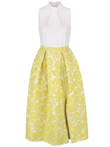 Krémovo-žlté midi šaty s kvetovanou sukňou Closet