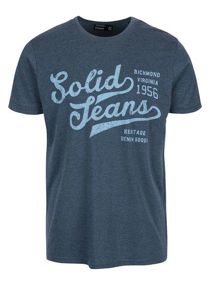 Modré žíhané triko s potiskem !Solid Deodat