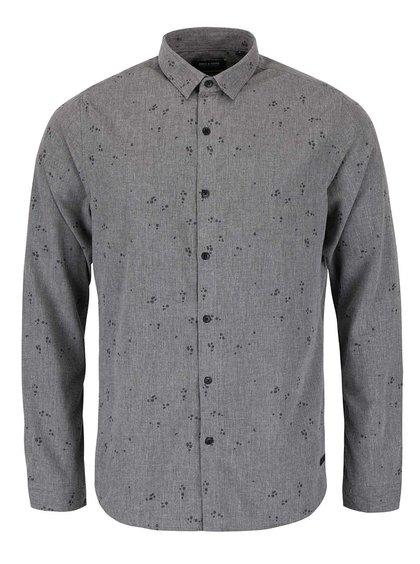 Tmavosivá melírovaná vzorovaná košeľa ONLY & SONS Sivel
