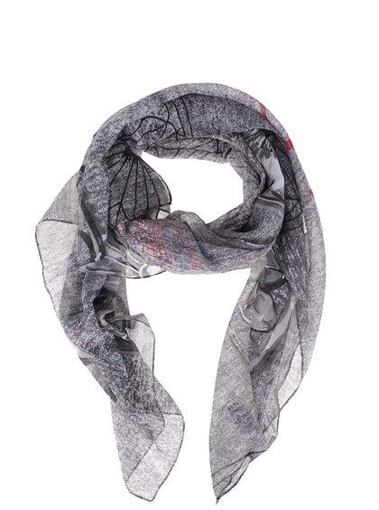 Šedý vzorovaný šátek s červeným nápisem Desigual Adhara