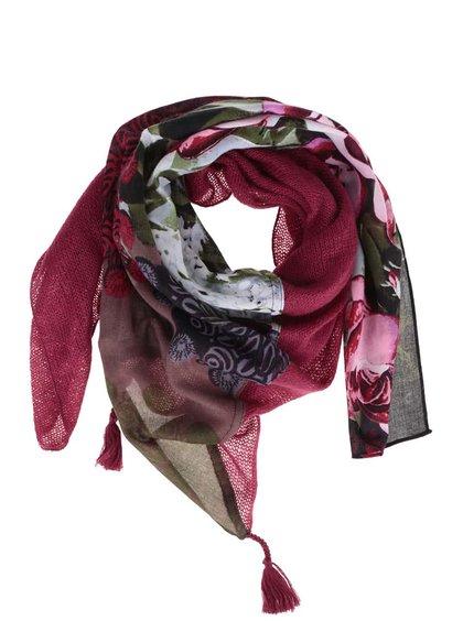 Tmavě růžový vzorovaný šátek Desigual Georgia