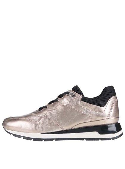 Pantofi sport auriu rose Geox Shahira din piele cu textil