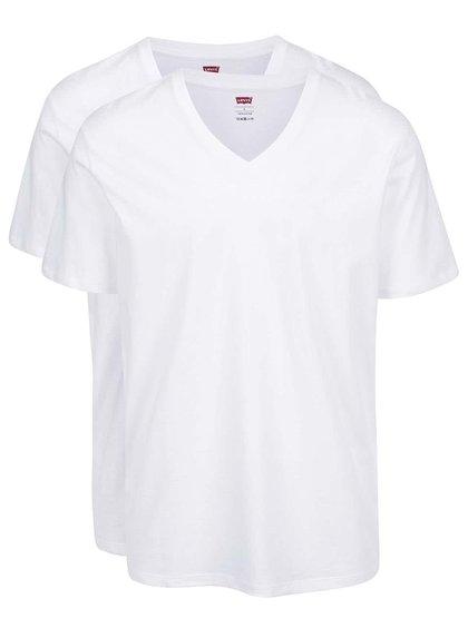 Súprava dvoch bielych pánskych tričiek s véčkovým výstrihom Levi's®
