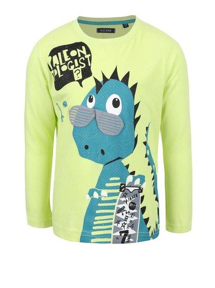 Limetkově zelené klučičí tričko s potiskem dinosaura Blue Seven