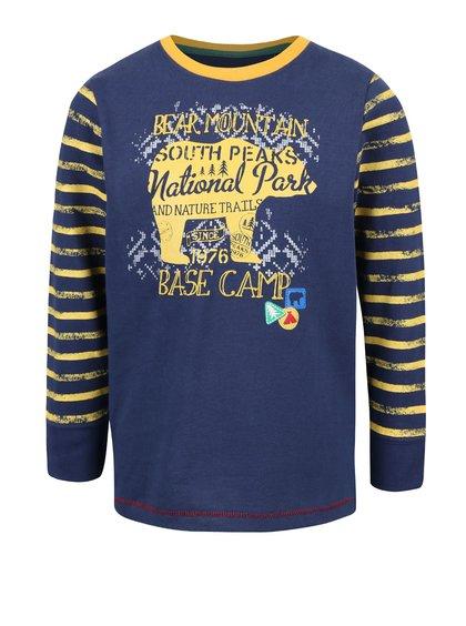 Žlto-modré chlapčenské tričko s puhovanými rukávmi Blue Seven