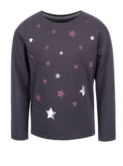 Tmavě šedé holčičí tričko s potiskem hvězd Blue Seven