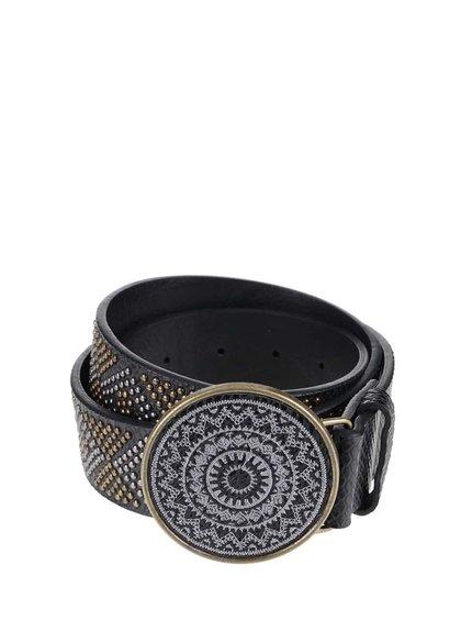 Černý pásek s kulatou sponou Desigual Borado Crux