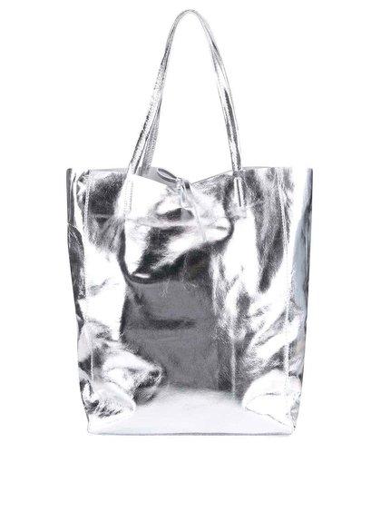 Geantă argintie ZOOT Simple din piele