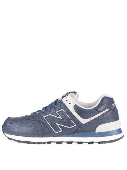 Krémovo-modré pánske kožené tenisky New Balance
