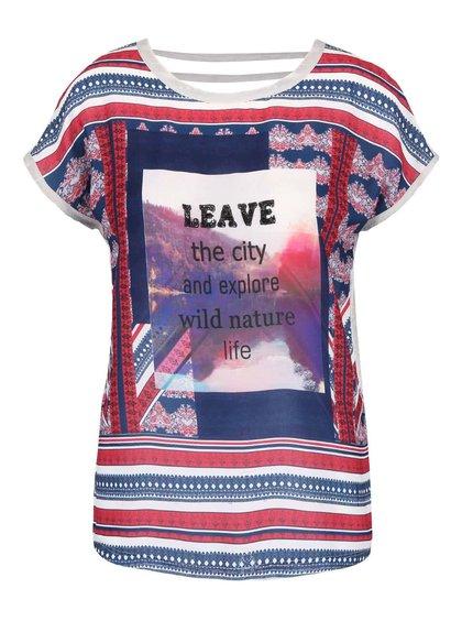 Svetlosivé pruhované tričko s potlačou Vero Moda Rosali