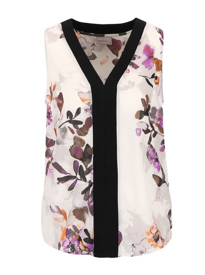 Krémovo-fialová kvetovaná blúzka bez rukávov Vero Moda Wanda
