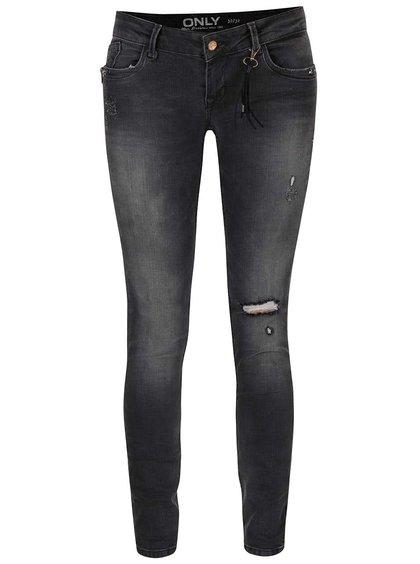 Tmavě šedé džíny s detaily ONLY Coral SL Zip