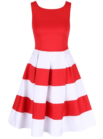 Červeno-biele šaty s pruhovanou sukňou Dolly & Dotty Anna