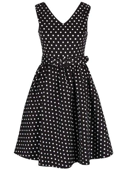 Čierne bodkované šaty s opaskom Dolly & Dotty Wendy